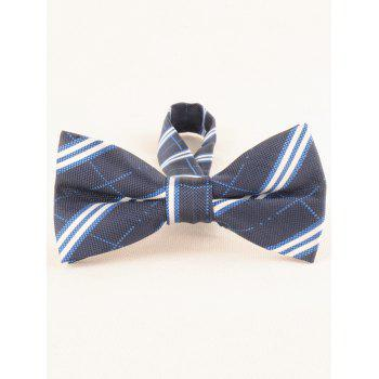 Striped Pattern Silky Business Shirt Tie and Bowtie - BLUE JAY
