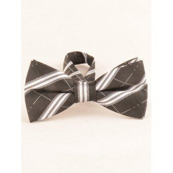 Striped Pattern Silky Business Shirt Tie and Bowtie - BLACK