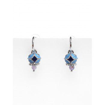 Unique Rhombus Pattern Rhinestone Drop Earrings - DENIM DARK BLUE