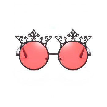 Retro Crown Rhinestone Round Sunglasses - BEAN RED