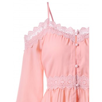 Open Shoulder Bell Sleeve Blouse - LIGHT PINK L