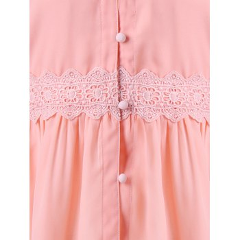 Open Shoulder Bell Sleeve Blouse - LIGHT PINK XL