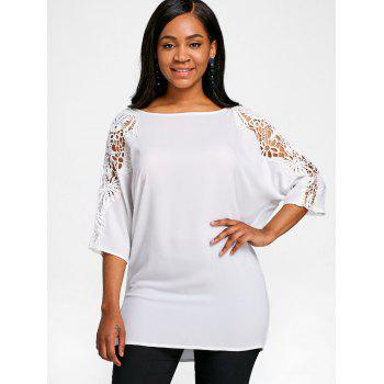 Lace Panel Dolman Sleeve Tunic T-shirt - WHITE XL