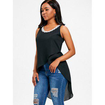 Lace Trim Long Asymmetrical Tank Top - BLACK L