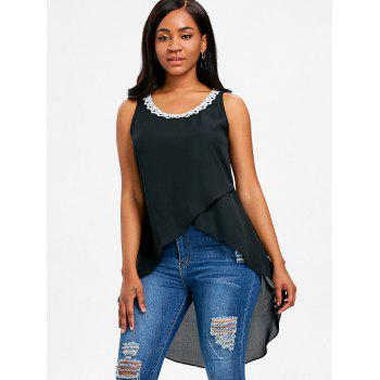 Lace Trim Long Asymmetrical Tank Top - BLACK XL