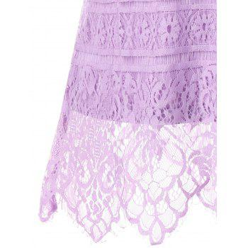 Lace U Neck Tank Top - PURPLE L