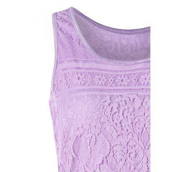 Lace U Neck Tank Top - PURPLE XL