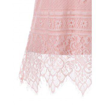 Lace U Neck Tank Top - LIGHT PINK XL