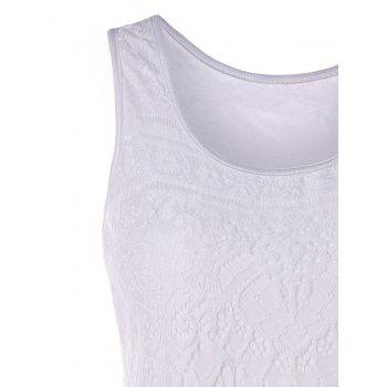 Lace U Neck Tank Top - WHITE L