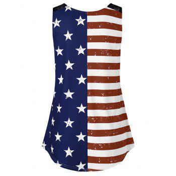 American Flag Print Lace Insert Swing Tank Top - multicolor A L
