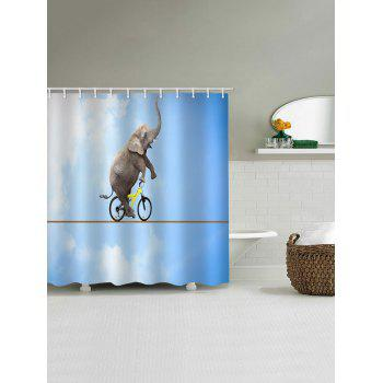 Elephant Performance Print Waterproof Shower Curtain - LIGHT SKY BLUE W71 INCH * L79 INCH