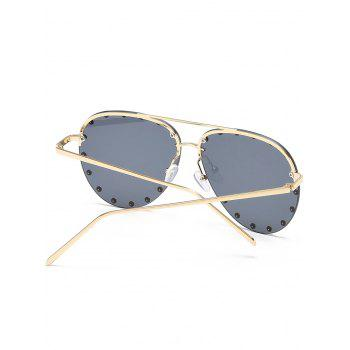 Anti UV Metal Studs Decorated Pilot Sunglasses - ASH GRAY