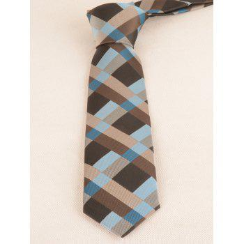 Plaid Pattern Silky Neck Tie and Adjustable Bow tie Set - BLUE KOI