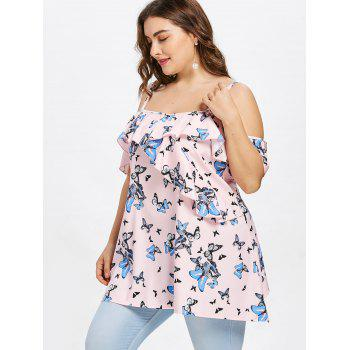 Plus Size Butterfly Print Cami Blouse - PIG PINK 2X