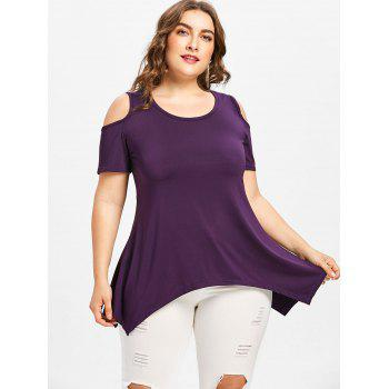 Plus Size Open Shoulder Lace Up T-shirt - PURPLE L