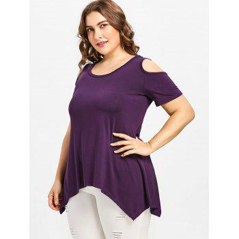Plus Size Open Shoulder Lace Up T-shirt - PURPLE 3X