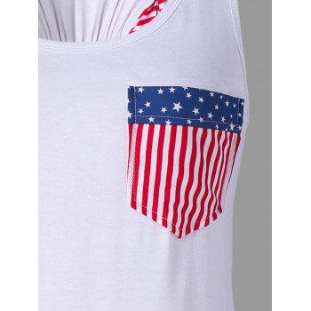 American Flag Tank Top with Bowknot Embellished - WHITE M