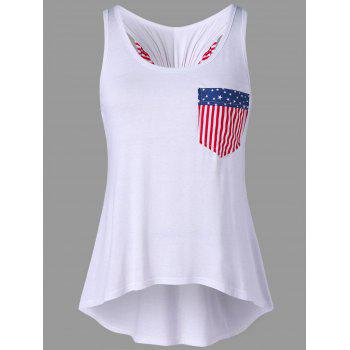 American Flag Tank Top with Bowknot Embellished - WHITE L