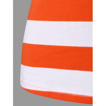 Lace Panel Striped Racerback Tank Top - ORANGE / WHITE XL