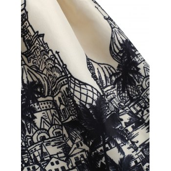 Russian Buildings Printed Sleeveless Flare Dress - BLACK XL