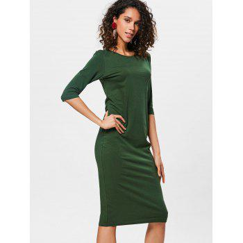 Knee Length Bodycon Shift Dress - PINE GREEN S
