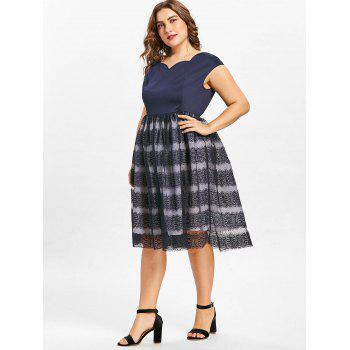 Lace A Line Plus Size Dress - DEEP BLUE 2X
