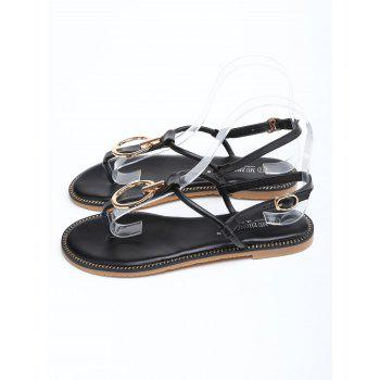 Circle Design T Strap Flat Heel Sandals - BLACK 40