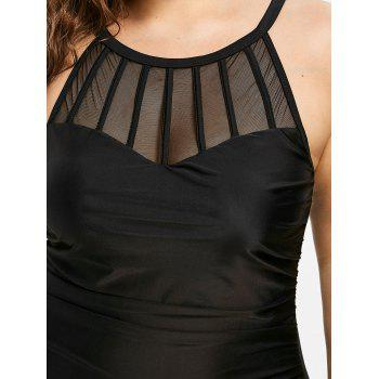 High Waisted Plus Size Mesh Panel One Piece Swimsuit - BLACK 3X