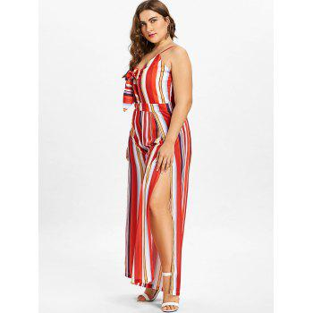 Plus Size Striped Wide Leg Jumpsuit - FIRE ENGINE RED L