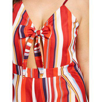 Plus Size Striped Wide Leg Jumpsuit - FIRE ENGINE RED 1X