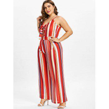 Plus Size Striped Wide Leg Jumpsuit - FIRE ENGINE RED 3X