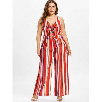 Plus Size Striped Wide Leg Jumpsuit - FIRE ENGINE RED 4X