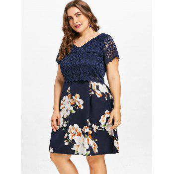 Plus Size Lace Flower Print Dress - MIDNIGHT BLUE 2X