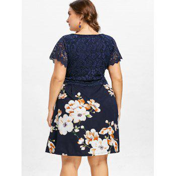 Plus Size Lace Flower Print Dress - MIDNIGHT BLUE 5X