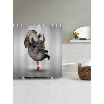 Ant Lifting Elephant Print Waterproof Shower Curtain - GRAY CLOUD W71 INCH * L79 INCH