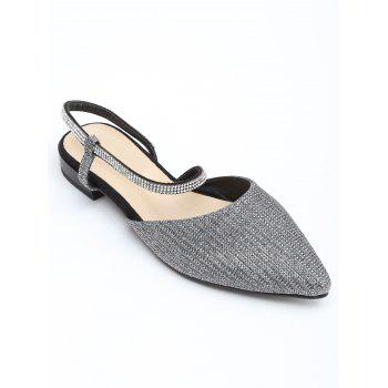 Shimmering Crystals Pointed Toe Sandals - SILVER 35