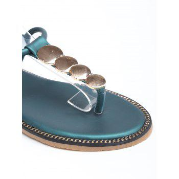 Round Design T Strap Flat Heel Sandals - GREEN 36