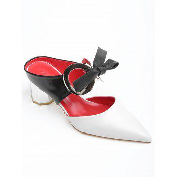 Point Toe Bowknot PU Leather Block Heel Sandals - WHITE 35