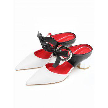 Point Toe Bowknot PU Leather Block Heel Sandals - WHITE 39