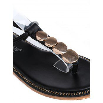 Round Design T Strap Flat Heel Sandals - BLACK 42