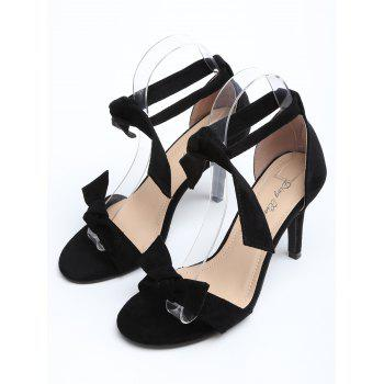 Ankle Strap Suede Bow Stiletto Heel Sandals - BLACK 35