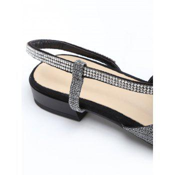 Shimmering Crystals Pointed Toe Sandals - SILVER 36