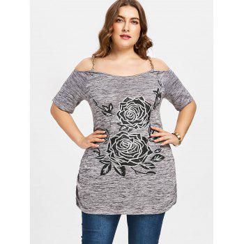 Plus Size Chains Embellished Floral T-shirt - COLORMIX XL