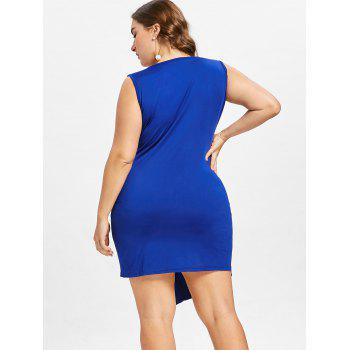 Plus Size Rhinestone Embellished Sleeveless Dress - COBALT BLUE 5X