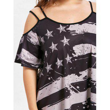 Cold Shoulder Plus Size American Flag T-shirt - BLACK 5X