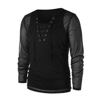 See Through Lace Up Mesh T-shirt with Tank Top - BLACK M