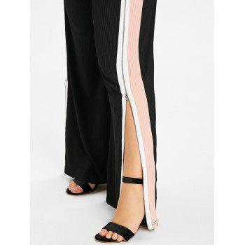 Plus Size Striped Zip Up Pants - LIGHT PINK 4XL