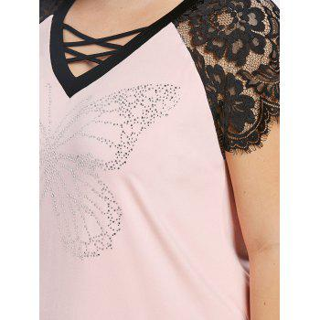 Lace Panel Plus Size Caged Butterfly Tee - LIGHT PINK 5XL