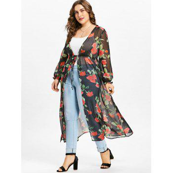 Plus Size Print See Through Chiffon Kimono - BLACK RED XL