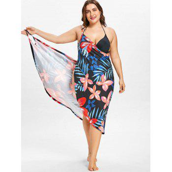 Tropical Plus Size Cover Up Dress - multicolor A 3X